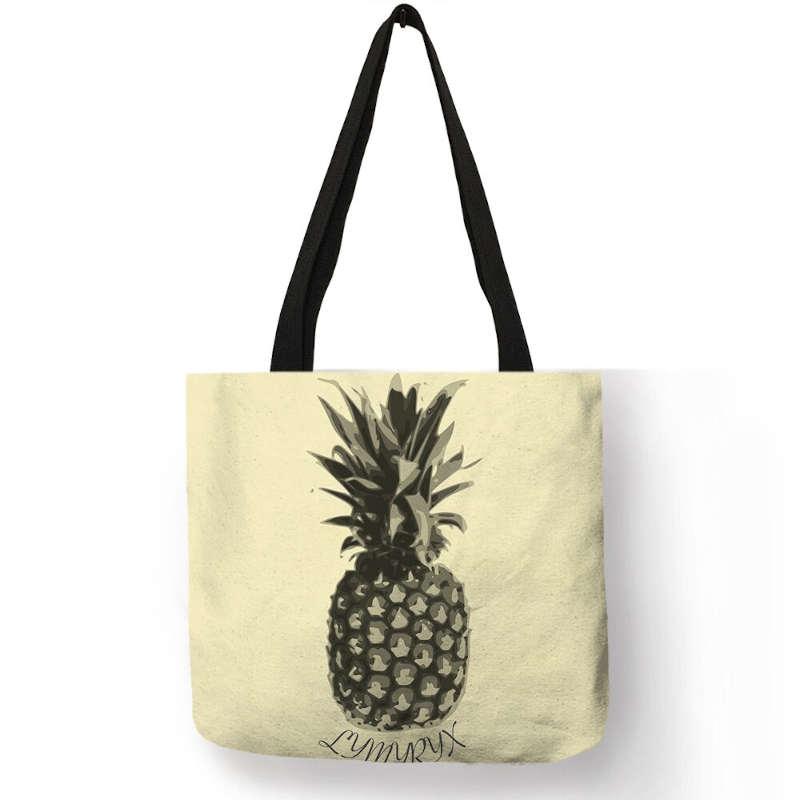 sac ananas tote bag imprimé avec un motif ananas en noir et blanc