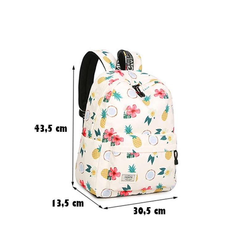 sac à dos motif ananas, tiare, coco dimensions