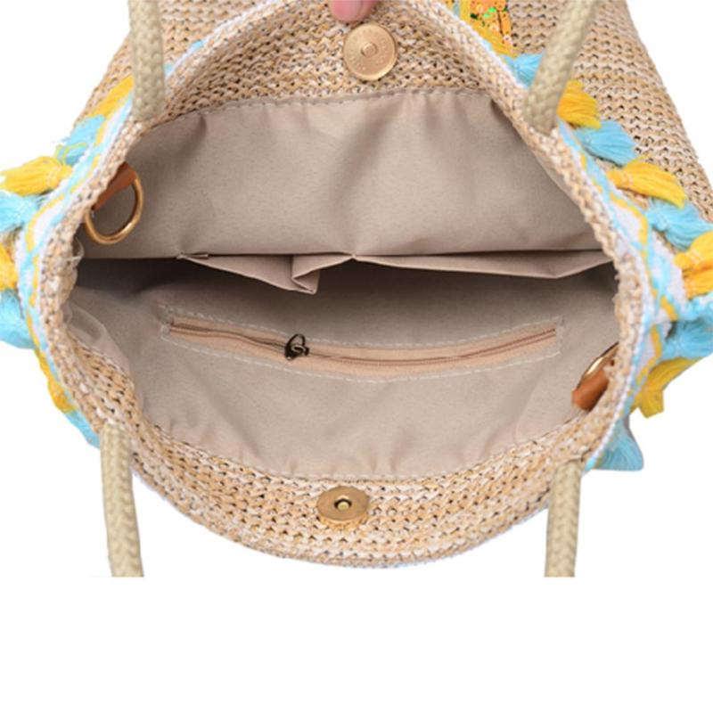 sac en paille avec motif ananas poches intérieures