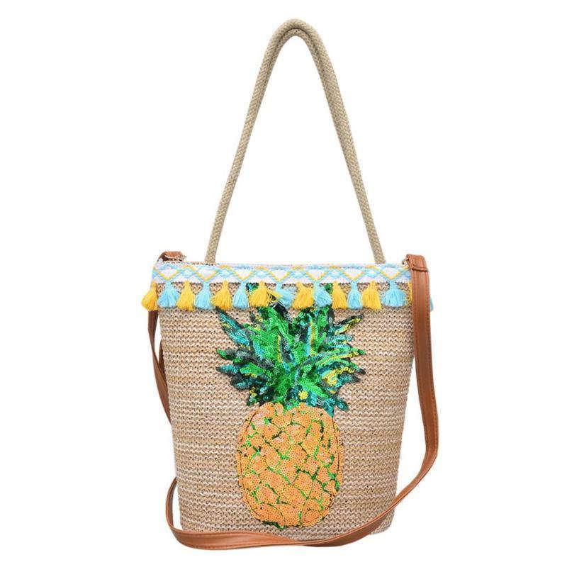 Sac en paille avec motif ananas en paillettes et pompons