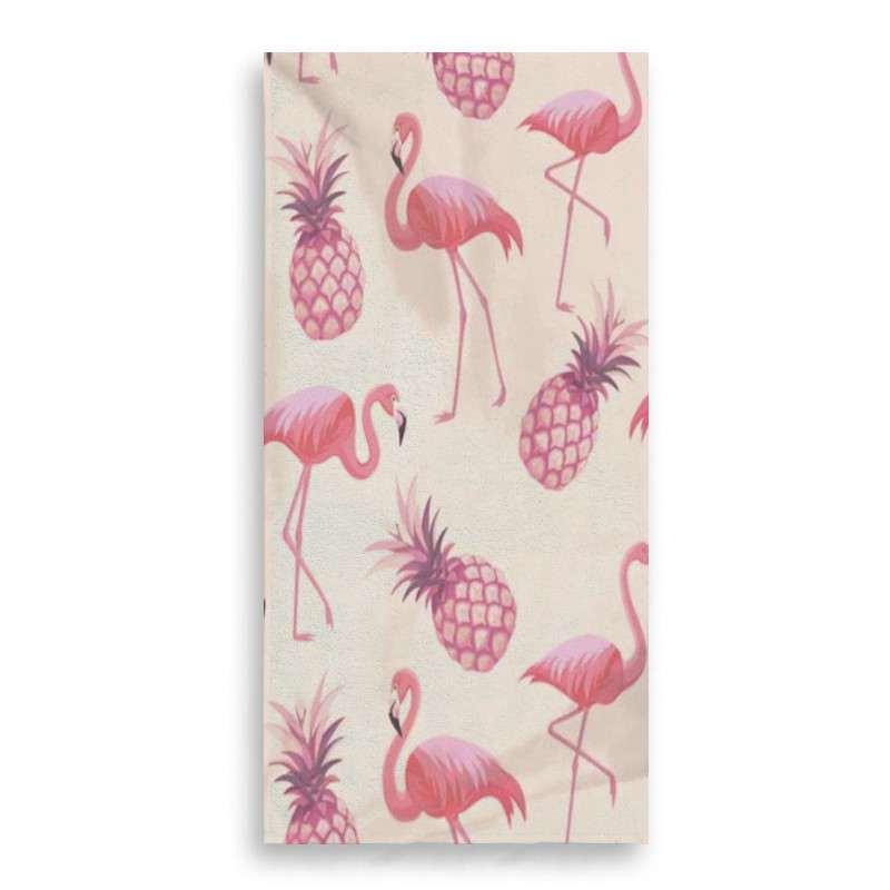 serviette de plage ananas flamant rose rectangulaire