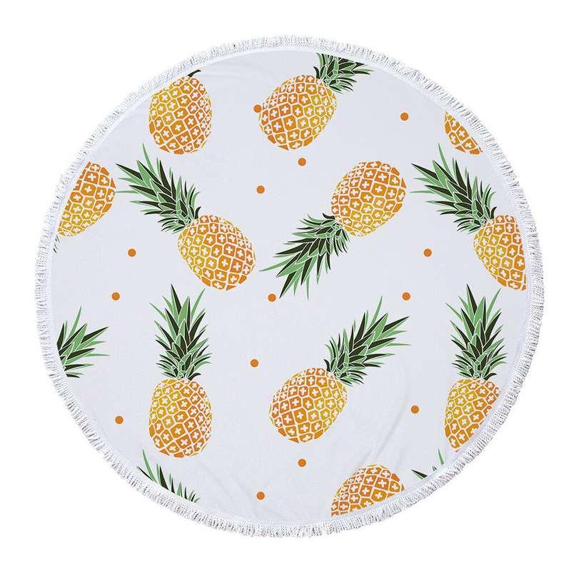 serviette de plage ananas pluie tropicale avec des ananas jaune et vert et des poids oranges, serviette blanche