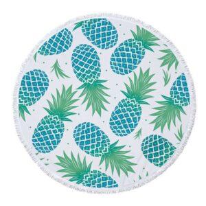 Serviette de Plage Ananas <br>Blanche et Bleue (ronde)