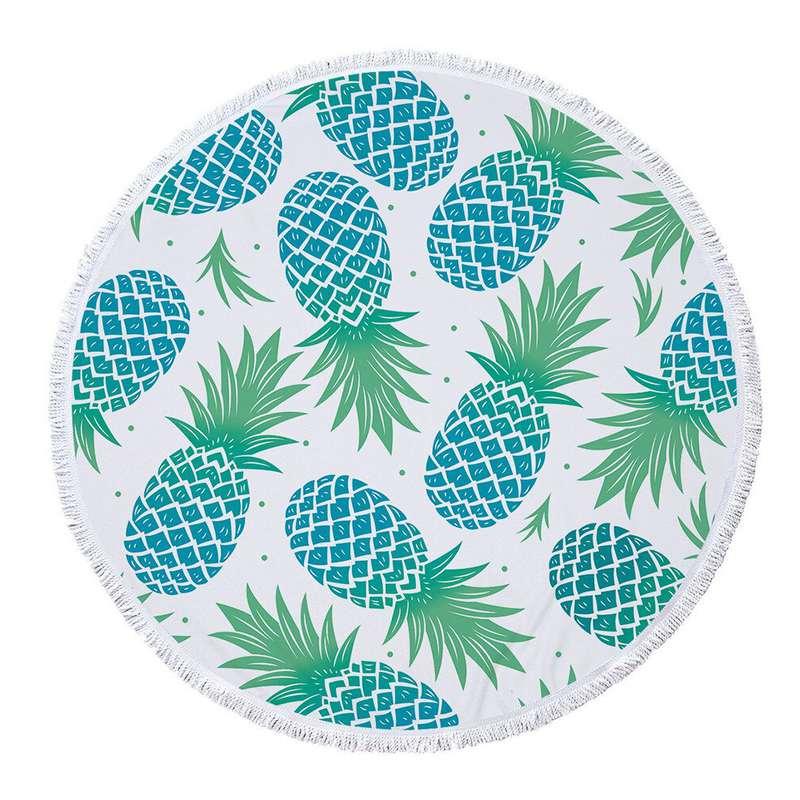 serviette de plage ananas ronde de couleur blanche imprimée d'ananas bleus