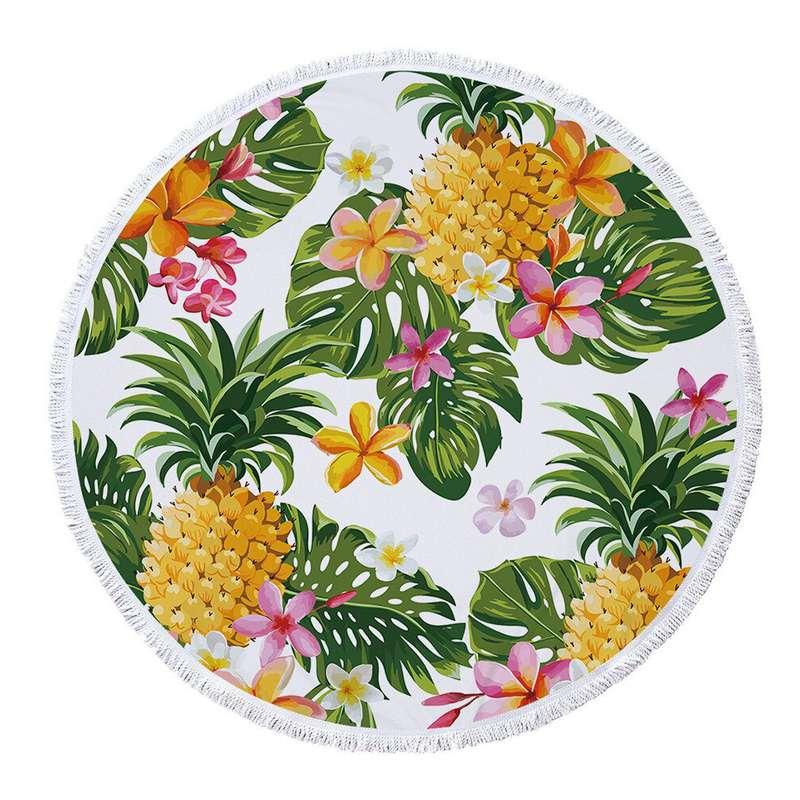 serviette de plage ananas ronde imprimée de fleur de tiaré et d'ananas