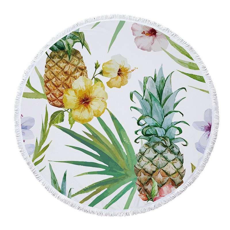 serviette de plage ananas ronde en microfibres imprimés d'ananas, de fleurs exotiques et de plantes