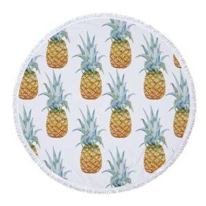 Serviette de Plage Ananas <br>Bain Fruités (ronde)