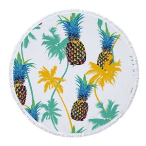 Serviette de Plage Ananas <br>Palmeraie Multicolore (ronde)