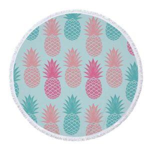 Serviette de Plage Ananas <br>Rose et Bleue (ronde)