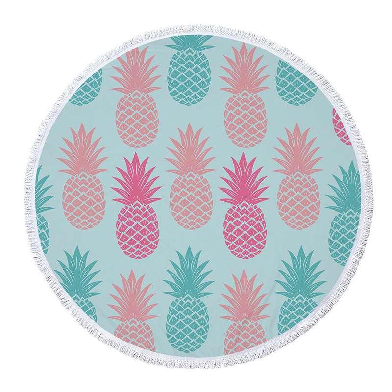 serviette de plage ananas ronde bleu clair imprimée d'ananas roses et bleus