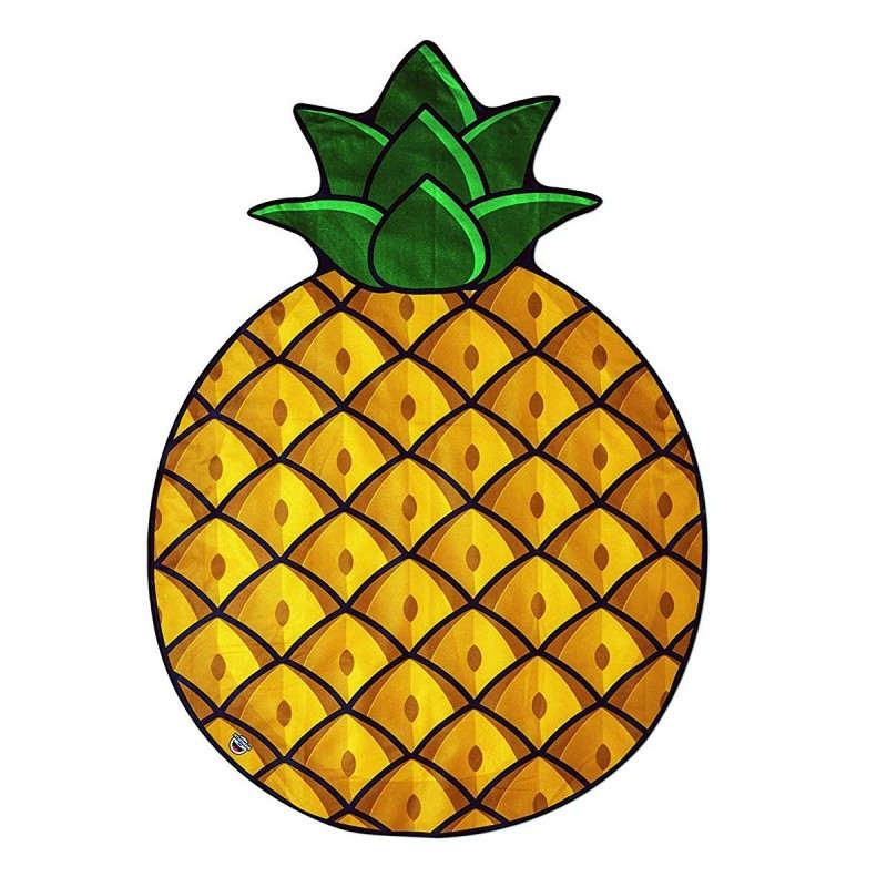 Serviette de plage en forme d'ananas jaune et vert