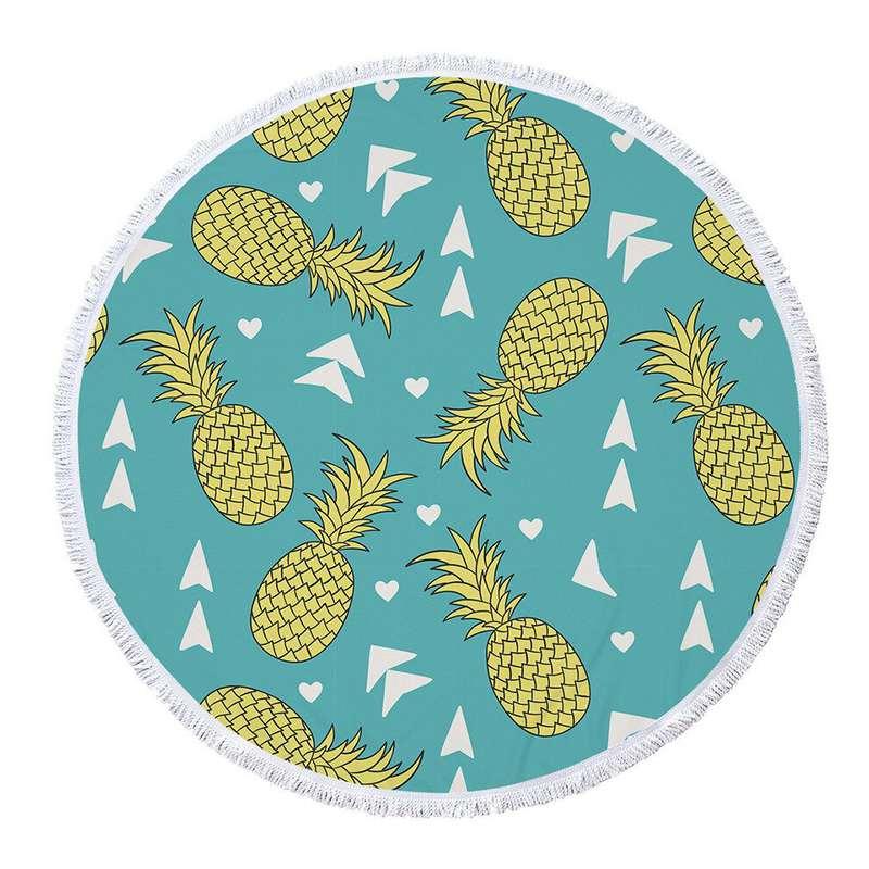serviette de plage ronde ananas de couleur bleu clair avec des ananas jaunes et des flêches directrices blanches