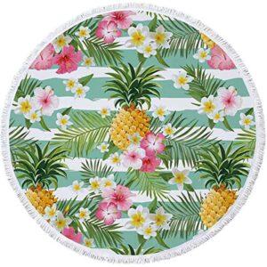 Serviette de Plage Ananas <br>Vagues de Fleurs (ronde)