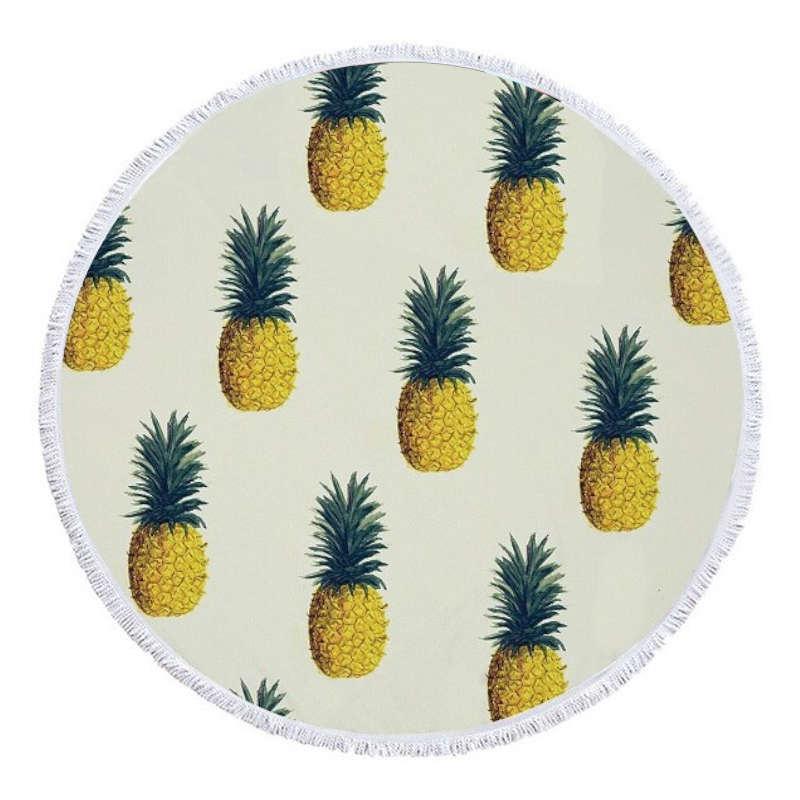 serviette de plage ananas ronde imprimée de plusieurs fruits