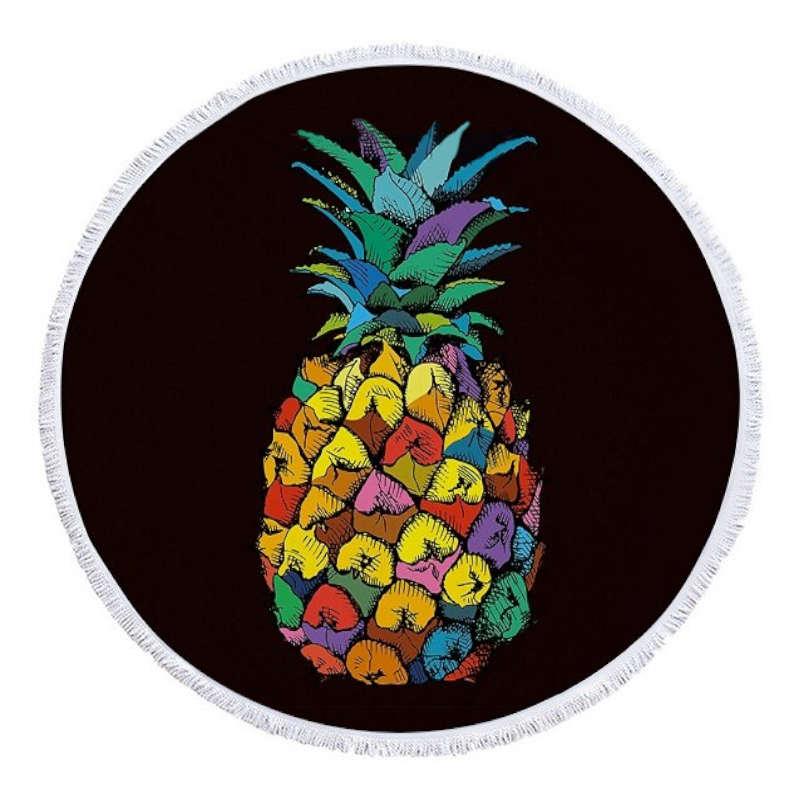 serviette de plage ananas ronde de couleur noire et imprimée d'un ananas multicolore