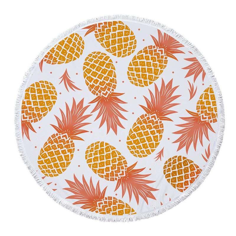 serviette de plage ronde ananas imprimée d'ananas orange, la serviette est blanche