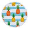 Serviette de plage ronde ananas avec vagues bleues et ananas jaune et orange
