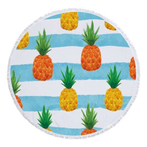Serviette de Plage Ananas <br>Vagues Bleues (ronde)