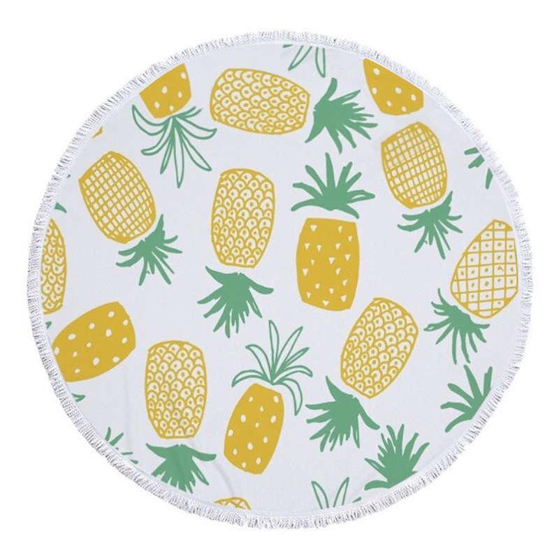 serviette de plage ronde ananas avec dessins de fruits jaunes et vert
