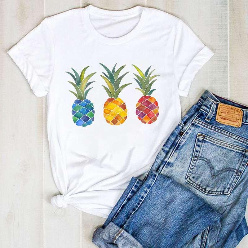t shirt imprimé de 3 ananas bleu, jaune et rouge pour femme