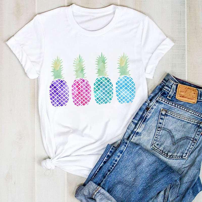 t shirt ananas pour femme imprimé de 4 motifs ananas violet, rose et bleu