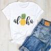 t shirt ananas pour femme imprimé d'un motif ananas et du mot aloha