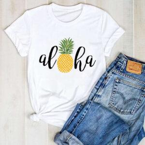 T-Shirt Motif Ananas Femme Aloha