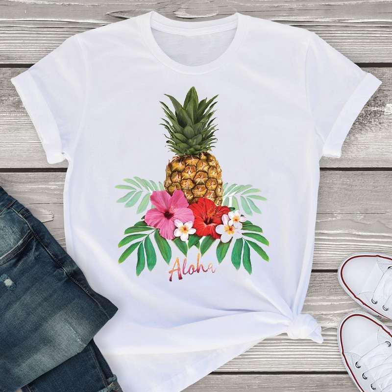 t-shirt ananas pour femme imprimé de fleurs de tiaré et du mot aloha (bonjour en hawaïen)