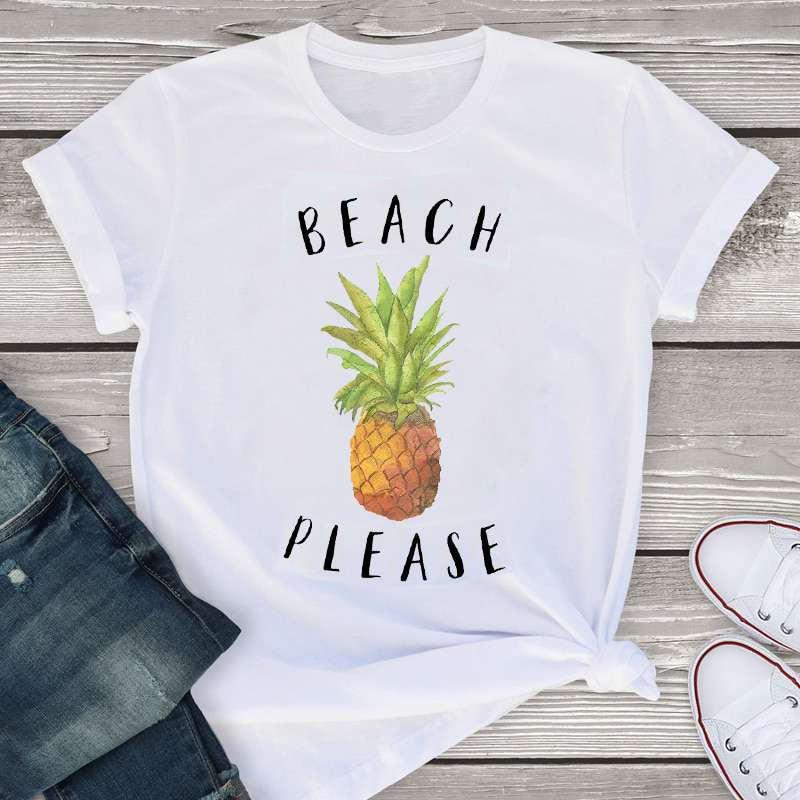 """t-shirt ananas pour femme imprimé d'un ananas et de la phrase """"beach please"""", en francais """"la plage s'il vous plai-"""