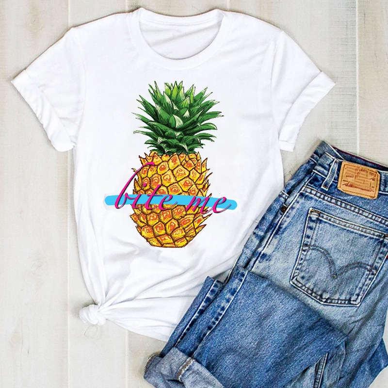 """t shirt imprimé d'un ananas et des mots """"bite me"""" pour femme"""