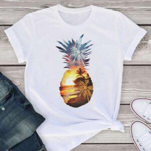 T-Shirt Ananas Femme <br>Coucher de Soleil