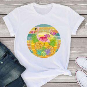 T-Shirt Ananas Femme <br>Flamant Rose