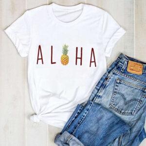 T-Shirt Ananas Femme Hawaï Aloha