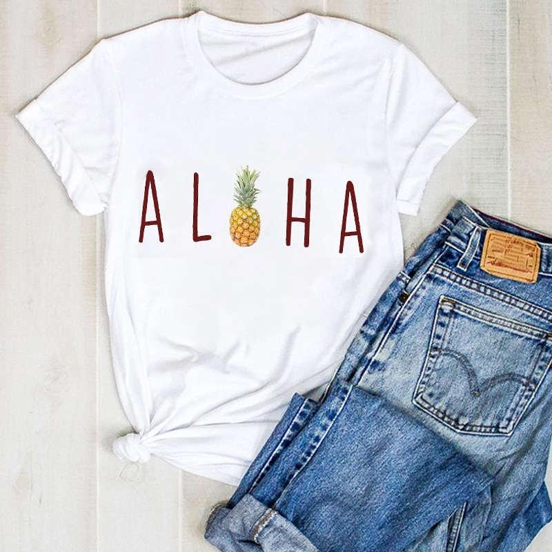 t shirt ananas pour femme imprimé d'un ananas et du mot aloha
