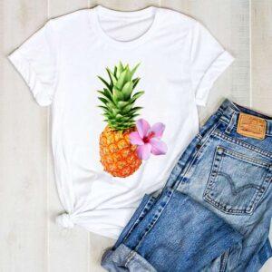 T-Shirt Ananas Femme Hibiscus Rose