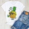 t shirt ananas pour femme imprimé d'un ananas buvant un cockail tête de mort