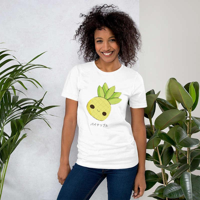t shirt ananas femme kawaii blanc