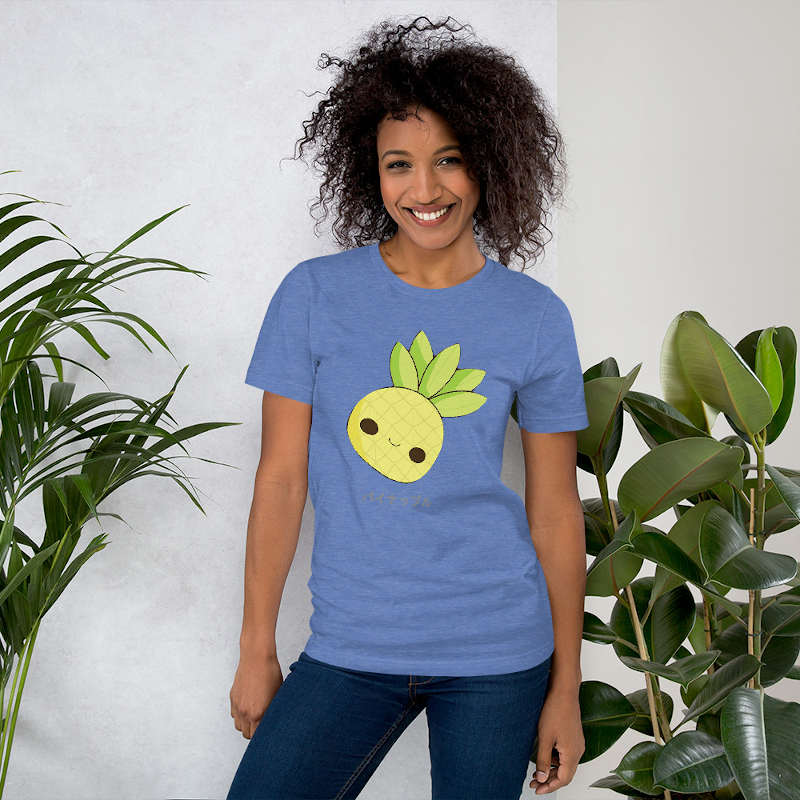 t shirt ananas femme kawaii bleu