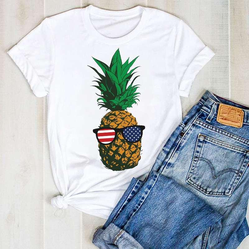 t shirt pour femme imprimé d'un ananas à lunette aux couleurs du drapeau des usa