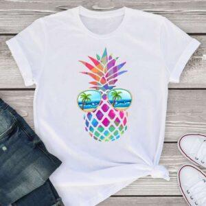 T-Shirt Ananas Femme <br>Multicolore à Lunettes