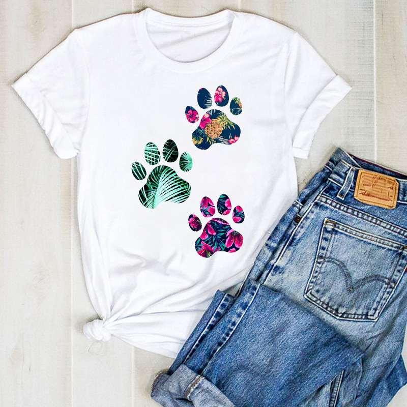 tee shirt ananas pour femme imprimé de 3 pattes de chien et d'un ananas