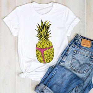 T-Shirt Ananas Femme String Rose