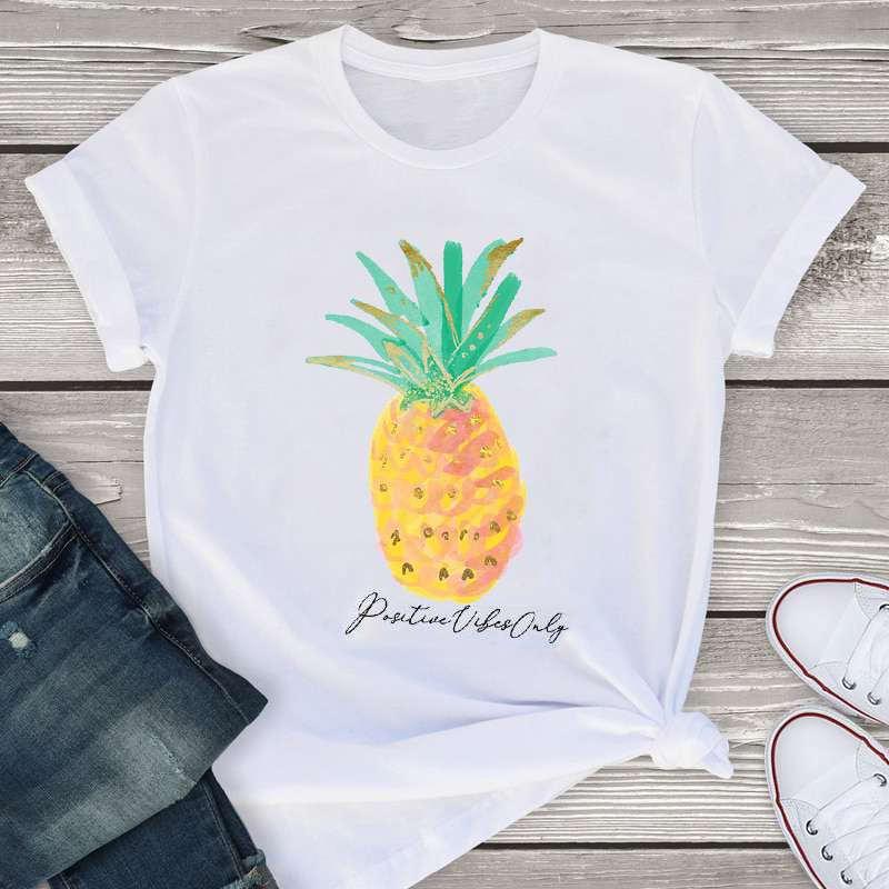 """t-shirt pour femme imprimé d'un ananas et de la mention """"positive vibes only"""" (uniquement des vibrations positives"""""""