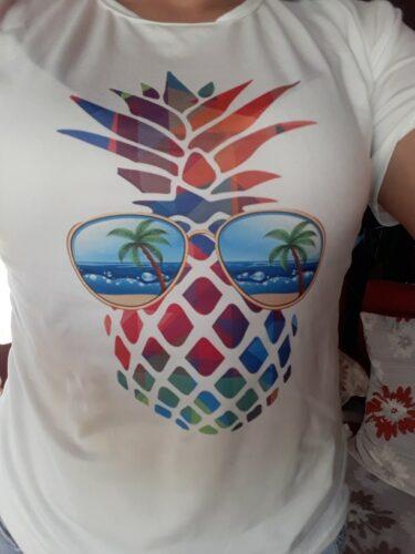 T-Shirt Ananas Femme <br>Multicolore à Lunettes photo review