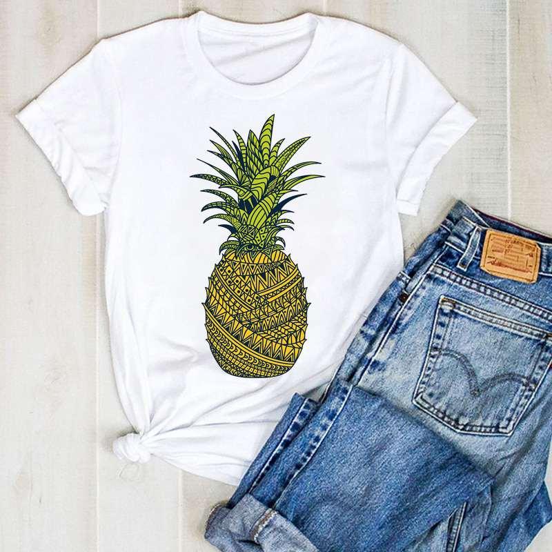 t shirt imprimé d'un motif ananas pour femme
