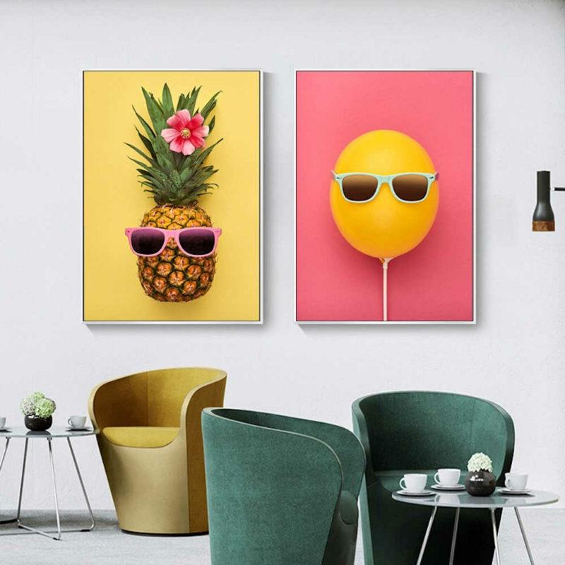lot de tableaux ananas à lunette jaune avec fleur de tiaré et ballon jaune à lunettes sur fond rose