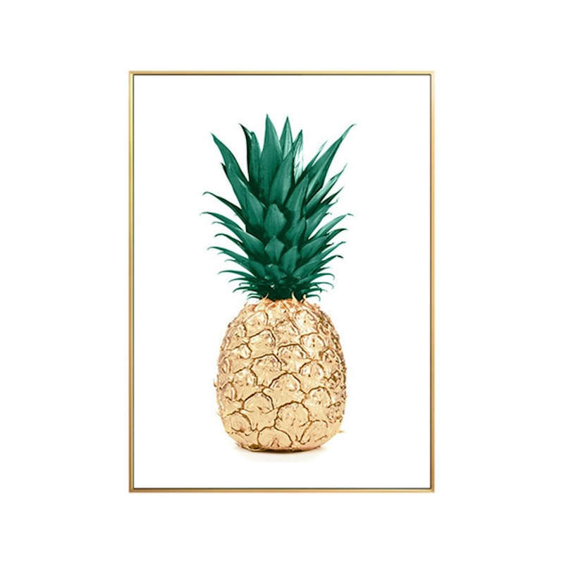 tableau sur toile avec ananas couleur or et vert