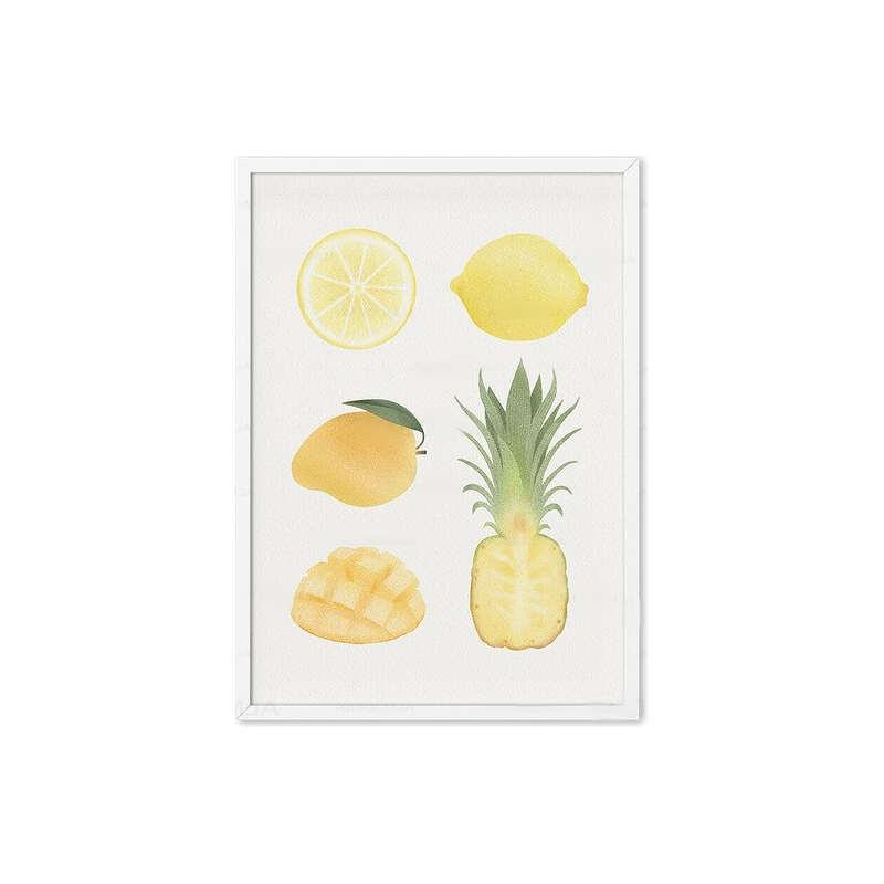 Tableau ananas cuisine sur toile avec ananas mangue et citron
