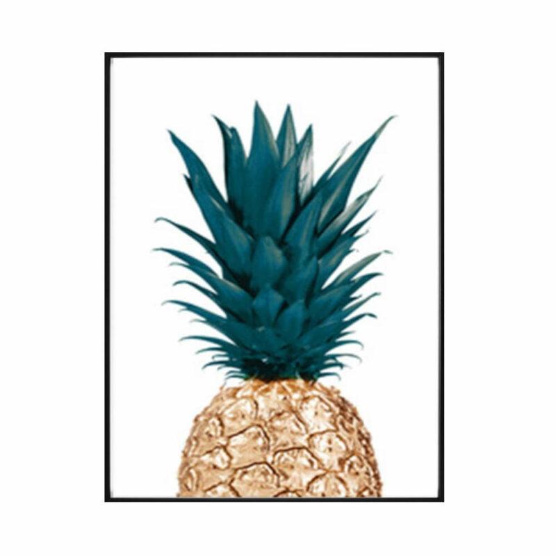 tableau ananas doré avec feuilles vertes