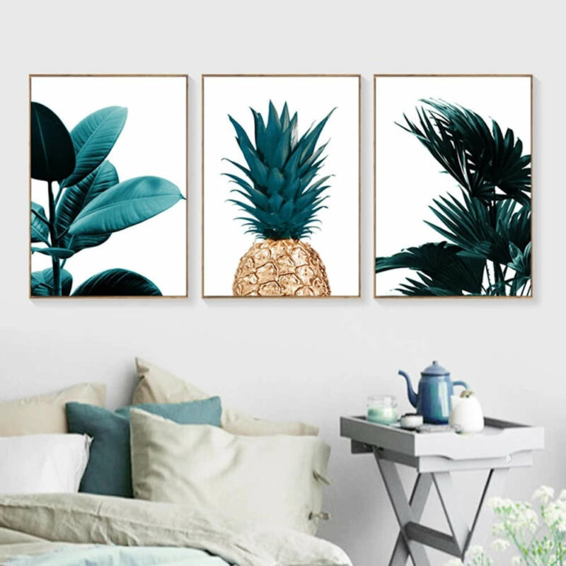 tableau ananas dore plantes tropicales